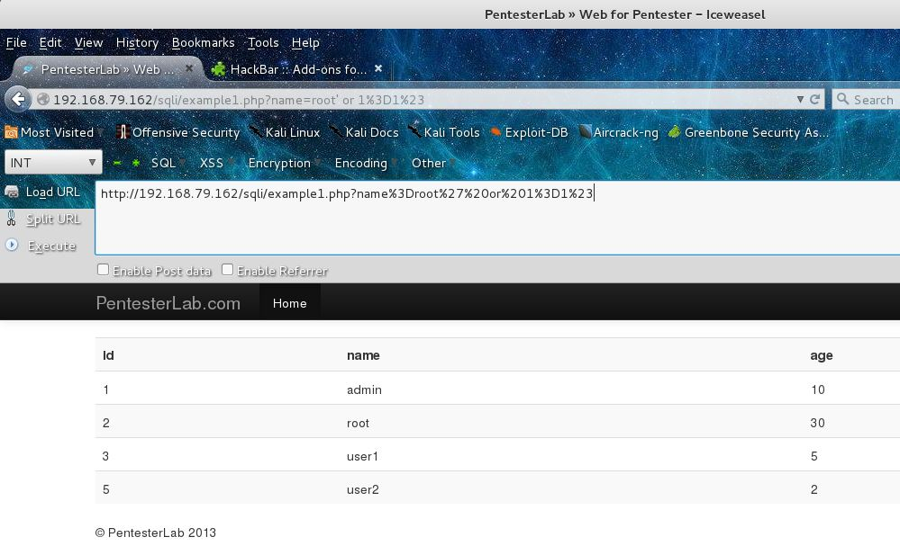 PentesterLab -- Web for Pentester - SQL Injection | Bob1Bob2